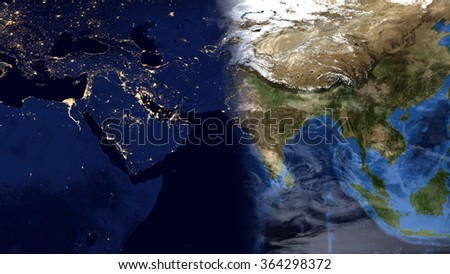 Middle Eastern World Planet Earth Night Day Stockillustration ...