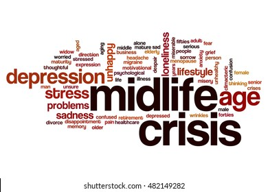 Midlife crisis word cloud concept