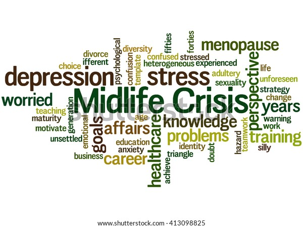 Midlife Crisis Word Cloud Concept On Stock Illustration