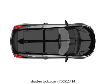 Midnight black modern electric car - top down view - 3D Illustration