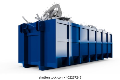 Midnight Blue rubble container perspective front view isolated on white background. 3D Rendering, 3D Illustration.