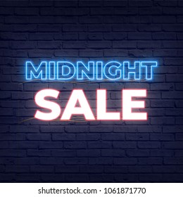 Midnight sales neon light signage in night