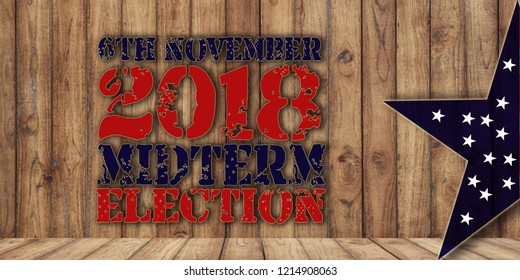 Midterm election 6th november text on wooden background and usa flag in star shape
