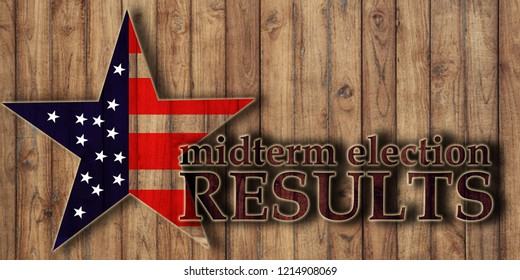 Midterm election voting results, text on wooden background and usa flag in star shape