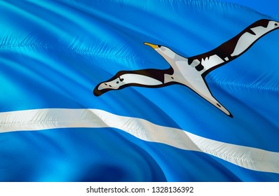 Midway Islands flag state. 3D Waving flag design. US state flags of Midway Islands and Oceania, 3D rendering. The national emblem of Midway Islands background wallpaper. 3D wallpaper,background