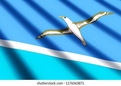 Midway Islands waving and closeup flag illustration. Perfect for background or texture purposes.