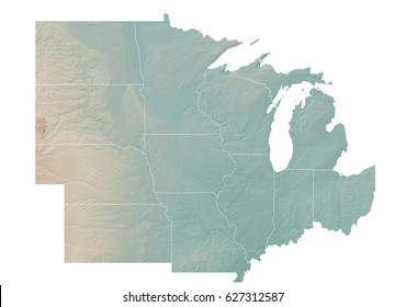 Midwest United States Topographic Map