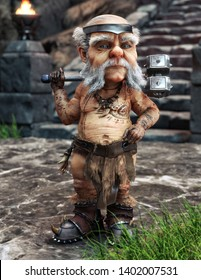 The mighty dwarf stands guard to the steps of his homeland city with war hammer in hand.  Fantasy portrait , 3d rendering