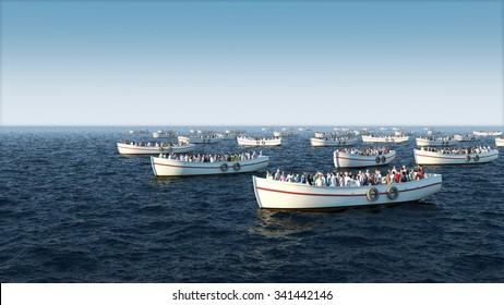 Migrant boat floating on the sea