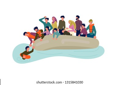 Migrant people in boat concept. Refugees get into Europe by sea isolated on white background. Rastered copy