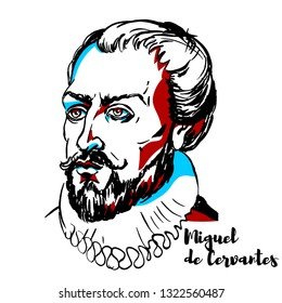 Miguel de Cervantes engraved portrait with ink contours. Spanish writer who is widely regarded as the greatest writer in the Spanish language and one of the world's pre-eminent novelists.