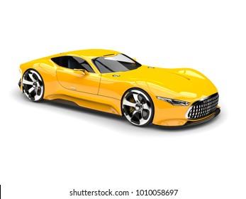 Mikado yellow modern super sports car - beauty shot - 3D Illustration