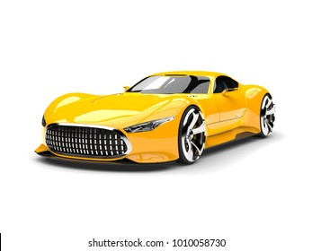 Mikado yellow modern super sports car - 3D Illustration