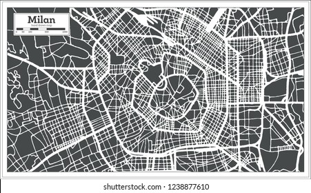 Milan Italy City Map in Retro Style. Outline Map.