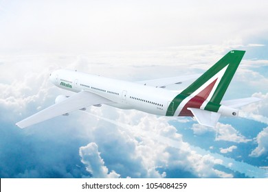 Milan, Italy - March 22, 2018: Aerial view of new Boeing 777 of Alitalia Airlines. 3D Illustration.