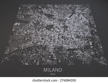 Milan, Italy, satellite map view, map in negative, 3d roads and buildings