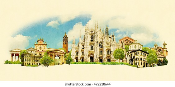 MILANO city high resolution panoramic watercolor illustration
