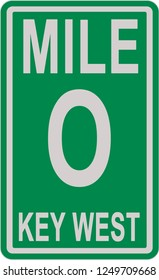 Mile 0 sign on the Florida scenic highway 1