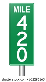 Mile Marker 420 highway sign, mileage on the route. High-resolution raster JPEG version.