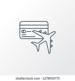 Miles card icon line symbol. Premium quality isolated flight element in trendy style.