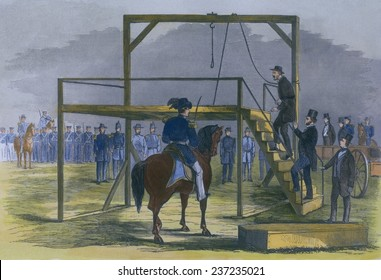 Militant abolitionist John Brown ( 1800- 1859) ascending the scaffold to be hung for leading the Harper's Ferry insurrection.