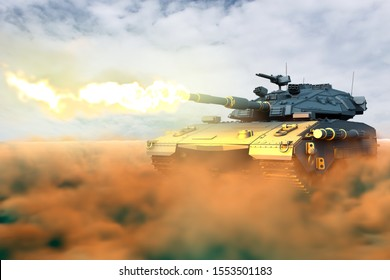Military 3D Illustration of tank with fictional design in combat shoots in desert, high detail tank fight concept