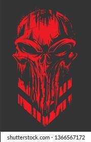 Military Badge Skull Red