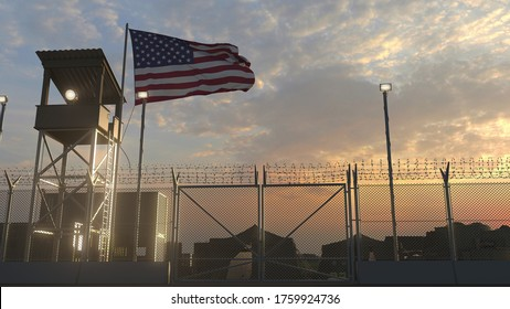 Military base with waving flag 3d 3d rendering