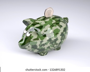 military camouflage painted piggy bank with rublee coin isolated on gray background , 3d illustration