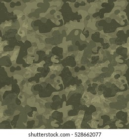 Military camouflage seamless pattern. Grunge and aged. Four colors. Woodland style