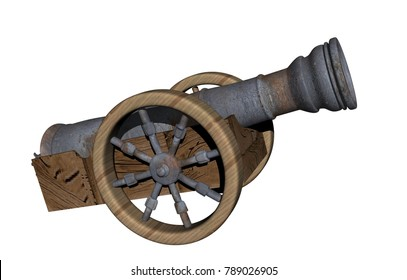 military cannon with balls 3D rendering