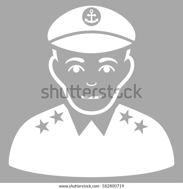 Military Captain glyph icon. Flat white symbol. Pictogram is isolated on a silver background. Designed for web and software interfaces.