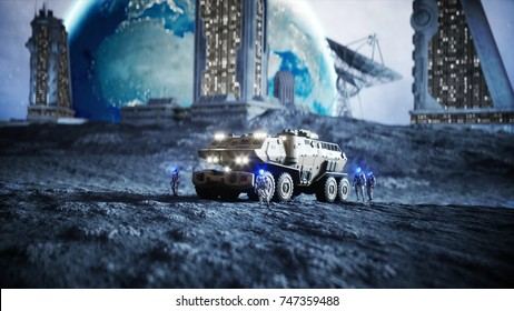Military car on moon with robots. Moon colony. Earth backround. 3d rendering.