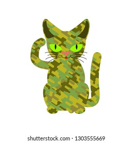 Military cat. Wool khaki protective texture. Army pet
