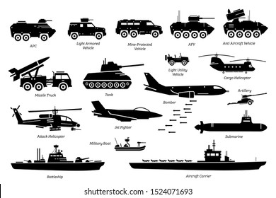 Military combat vehicles, transportation, and machine icon set. Artwork depicts army armored vehicle, tank, missile truck, bomber, attack helicopter, jet fighter, warship, boat, ship, and submarine.