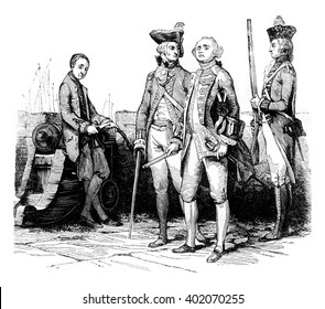 Military costumes, vintage engraved illustration. Colorful History of England, 1837.