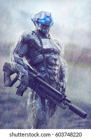 Military cyborg stands in the rain. 3D illustration