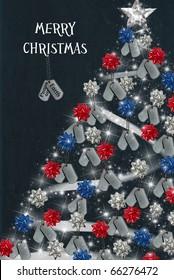 military dog tag Christmas tree with holiday greetings