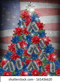 military dog tags and bows on holiday tree with flag background