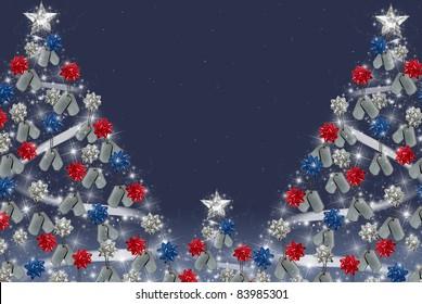 military dog tags and bows on Christmas tree