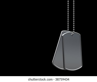 military dog tags on black