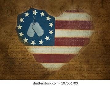 military dog tags on flag heart with grungy overlay