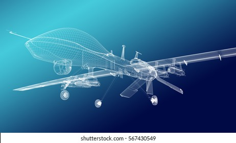 Military drone  armored with missiles. Gears down. Nose bottom view. Wire render.