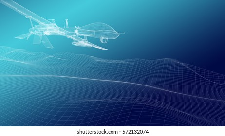 Military drone over terrain mesh. Wire render. 3d