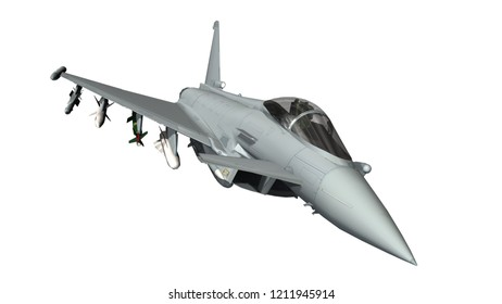 military fighter jet - modern armed military fighter jet isolated on white background -  realistic 3d render