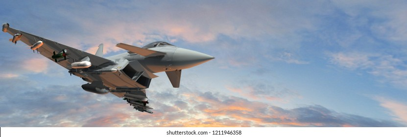 military fighter jet - modern armed military fighter jet in fly -  realistic 3d render