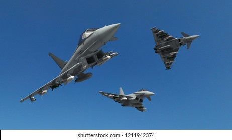 military fighter jets - modern armed military fighter jets fly in formation - realistic 3d render