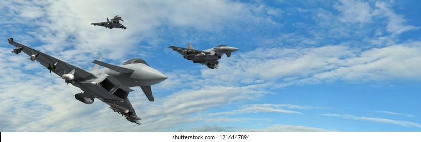 military fighter jets - modern armed military fighter jets flys in formation - realistic 3d render