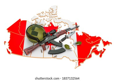 Military force, army or war conflict in Canada concept. 3D rendering isolated on white background