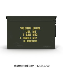 Military green metal bullet box isolated on white. 3D Illustration